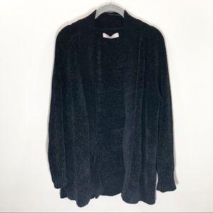 Loft Black Chenille Cardigan Sweater